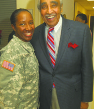 U.S. Army Reserve Sgt. Felecia Parker and Rep. Charles B. Rangel