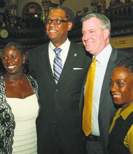 Michelle and Counciman Robert E. Cornegy, Jr. with Mayor Bill de Blasio and wife, Chirlane McCray