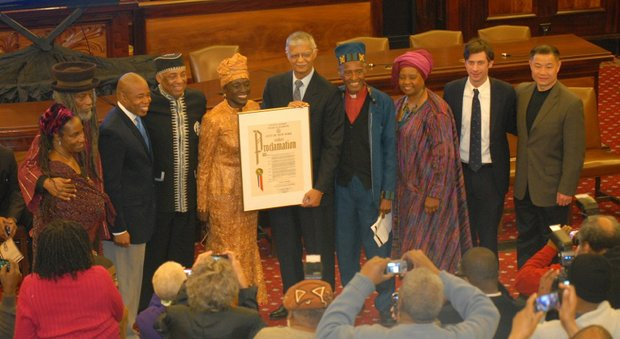 Council member Inez Barron hosts her inauguration at City Hall, with Jackson, Miss. Mayor Chokwe Lumumba as the keynote speaker and the Rev. Herbert Daughtry delivering the oath of office.