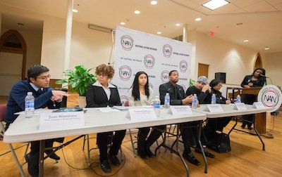 Panelists make remarks during the National Action Network-sponsored National Youth Day of Action Against Gun Violence summit at the Metropolitan A.M.E. Church in Northwest D.C. on Wednesday, Jan. 8.