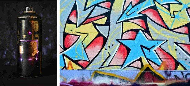Left: Ian Tom, Montana Black Spray Paint Can, Right: Ian Tom, Lonely Blue Star
