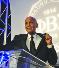 Harry Belafonte served as the keynote speaker at Phi Beta Sigma Fraternity's Centennial Founder's Day Gala held at the Renaissance Hotel on Saturday, Jan. 11. Belafonte also challenged the crowd to fight vigorously against violence directed toward women.
