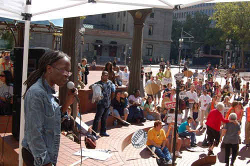 In this Portland Observer archives photo, Portland activist JoAnn Hardesty calls for police reforms during a 2010 rally for justice that was held after two local African Americans, Keaton Otis and Aaron Campbell were killed, during confrontations with Portland police.