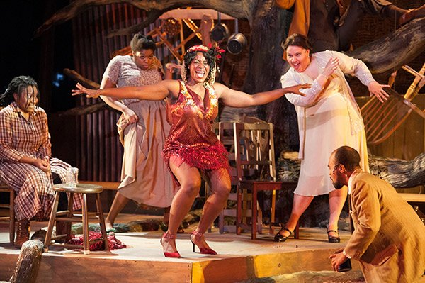 """Crystin Gilmore (center) as Shug Avery with (l-r) Lovely Hoffman, Taylor Washington, Carolyn Saxon and Maurice Emmanuel Parent in a scene from the SpeakEasy Stage Company production of """"The Color Purple,"""" running through Feb. 8 at the Boston Center."""
