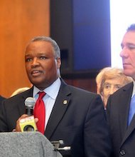 Prince George's County Executive Rushern L. Baker III (center), Montgomery County Executive Isiah Leggett (left) and Baltimore County Executive Kevin Kamenetz called for increased funding to their county school systems during a Jan. 14 press conference in Annapolis.