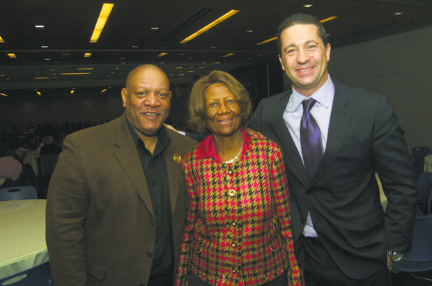L to R: Scot X (East Coast NAACP national director), Hazel N. Dukes (New York state NAACP president) and Rich Graziano of WPIX-TV