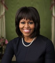 Official portrait of First Lady Michelle Obama in the Green Room of the White House was made on February 12, 2013.