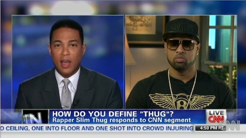 "Slim Thug appeared on Don Lemon's OutFront program on CNN to discuss the word ""thug"" and whether or not the ..."