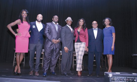 Pictured from left: Taja V. Simpson, Omar McGee, Rev. K.W. Tulloss, Darren Dewitt Henson, Rev. Omarosa Manigault, Charles Franklin, Vice Mayor of Pasadena Jaque Robinson./OW photo by Brandon Norwood