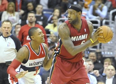 Miami Heat forward LeBron James posts up Washington Wizards guard Bradley Beal at Verizon Center on Jan. 15. The Wizards upset the defending NBA champion Heat, 114-97.