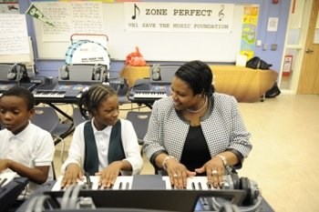 D.C. Schools Chancellor Kaya Henderson, seen here during a visit to a city elementary school, said the enrollment lottery system makes the out-of-boundary process clearer. (Courtesy of DCPS)