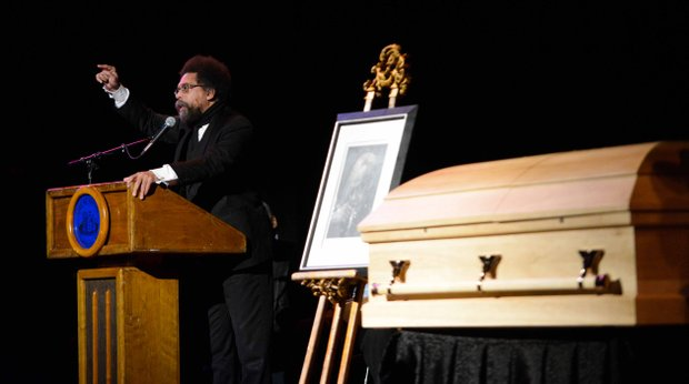 Philosopher Cornel West offer remarks during the home-going services of poet Amiri Baraka on Saturday, Jan. 18, 2014, at the Newark Symphony Hall in Newark, N.J. Baraka died Jan. 9 of an undisclosed illness.