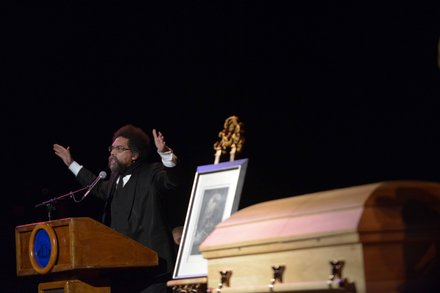 Philosopher Cornel West speaks during a memorial services for poet Amiri Baraka on Saturday, Jan. 18 at the Newark Symphony Hall in Newark, N.J. Baraka died Jan. 9 of an undisclosed illness.