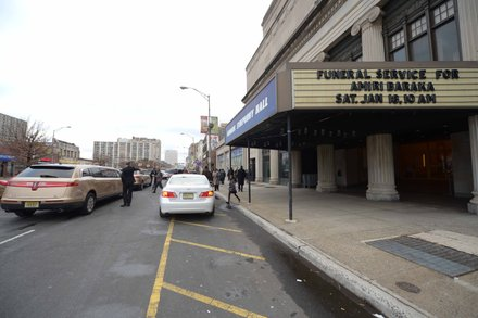 The marquee of the Newark Symphony Hall in Newark, N.J. is seen here on Saturday, Jan. 18. Poet Amiri Baraka who died Jan. 9 of an undisclosed illness, lay in repose at the hall as thousands paid respects.