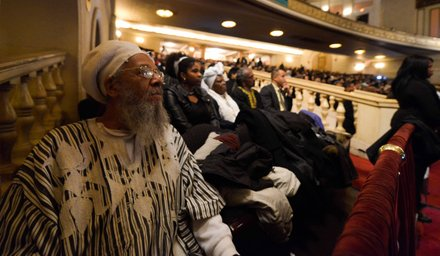 More than 3,000 people paid their respects to Amiri Baraka during a public memorial service at the Newark Symphony Hall in Newark, N.J., on Saturday, Jan. 18. Baraka died Jan. 9 of an undisclosed illness.