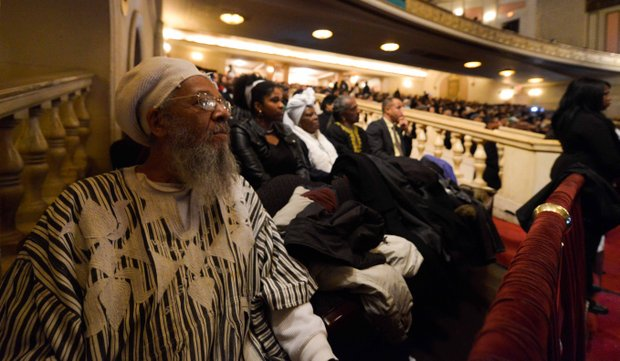 Thousands pay their respects to Amiri Baraka during a public home-going service at the Newark Symphony Hall in Newark, N.J. on Saturday, January 18. Baraka died Jan. 9 of an undisclosed illness.