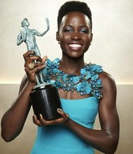 "Lupita Nyong'o' won a supporting actress award for her performance in ""12 Years a Slave,""  at the SAG Awards."