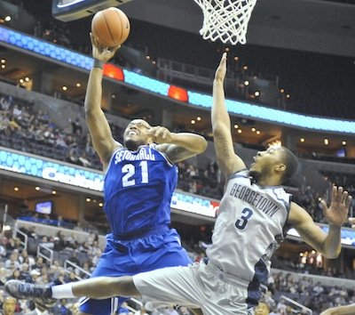 Seton Hall Pirates guard Eugene Teague shoots over Georgetown Hoyas forward Mikael Hopkins during Seton Hall's 67-57 victory on Saturday, Jan. 18 at Verizon Center in D.C.