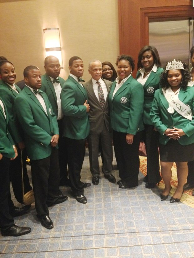 Chicago State University (CSU) President Dr. Wayne Watson (middle) attended the 24th Annual Rev. Dr. Martin Luther King, Jr. Scholarship Breakfast at the Hyatt Regency Chicago with CSU students on Jan. 18.