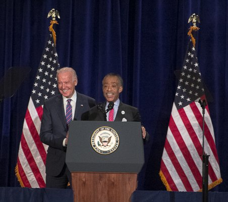 Reverend Al Sharpton introduces U.S. Vice President Joe Biden as the keynote speaker during the National Action Network King Day Breakfast at the Mayflower Hotel in Northwest on Monday, Ja. 20.