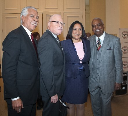 (L-R) Hilary Shelton, Lee Saunders, Wade Henderson after the National Action Network King Day Breakfast on Monday, Jan 20 at the Mayflower Hotel in Northwest.