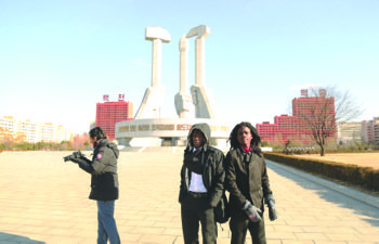 Pacman and Peso film a music video in North Korea. (Courtesy photo)