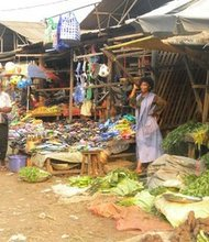 A colorful market in Limbe, a lively town on the Atlantic coast of Cameroon