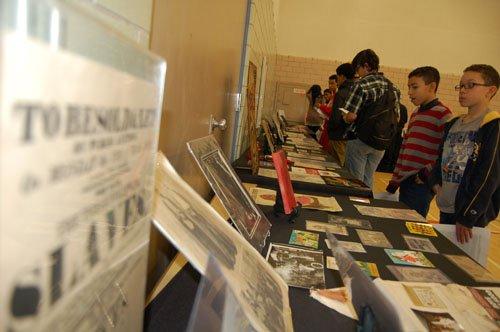 Scholar Khalid el-Hakim brought his Black History 101 Mobile Museum to Jefferson High School Thursday to help shine a light ...
