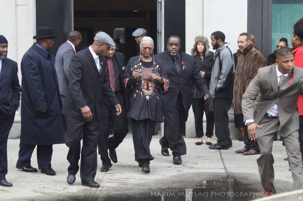Amina Baraka leaves the funeral.