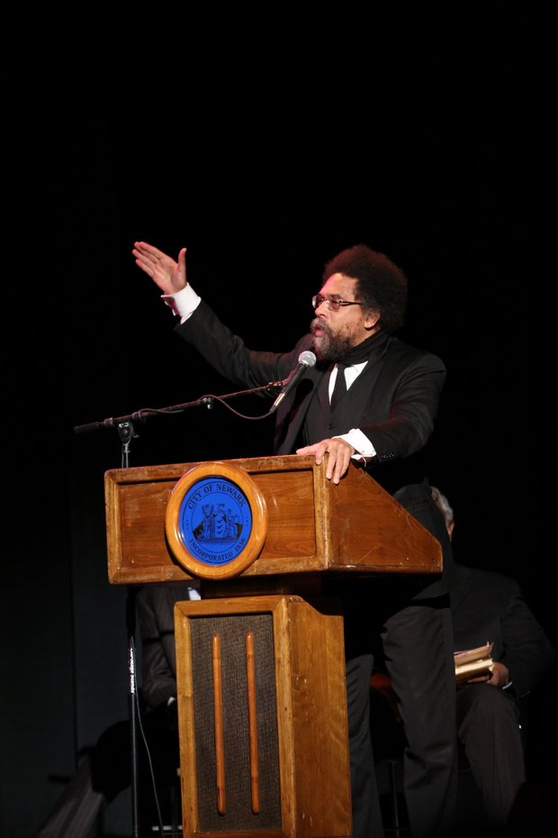 Cornell West speaks at the funeral.