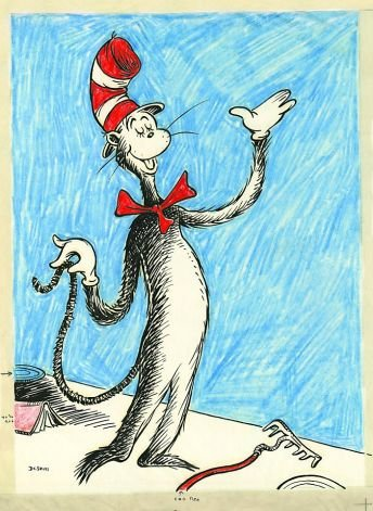 "The iconic red-and-white striped hat from Dr. Seuss' ""The Cat in the Hat"" and the red felt cap with a ..."