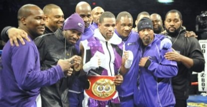 Lamont Peterson (center) won a unanimous decision over Dierry Jean to retain his IBF junior welterweight title at the D.C. Armory on Jan. 25.