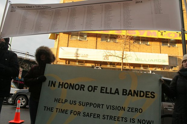 People gather in honor of Ella Bandes, who was killed in Brooklyn when she was hit by an MTA bus.