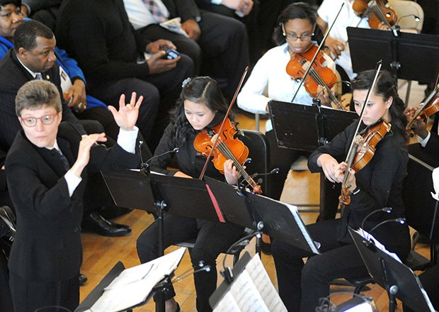 The Boston Youth Symphony Orchestra performs during the 6th Annual Martin Luther King Oration at Faneuil Hall.