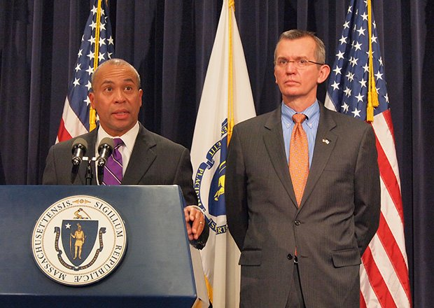 Gov. Deval Patrick, here with Secretary of Health and Human Services John Polanowicz, is calling for increased funding for education and human services in his fiscal year 2015 budget.