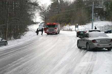 Stranded motorists on Evans Mill Road where icy conditions  continued to make curves and hills dangerous on Jan. 29
