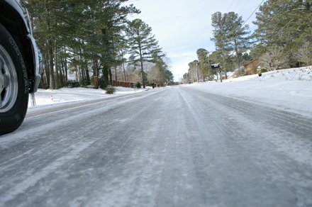 A sheet of ice, clearly visible on Salem Road between Panola and Evans Mill Road Jan. 29, made it difficult for commuters to enter and leave neighborhoods  along the corridor.