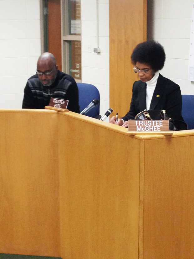 Village of Hazel Crest Trustees Kevin Moore and Susan Pate ask the Hazel Crest Police Department questions about the potential crime involved with allowing a new pawn shop to open up in the area.