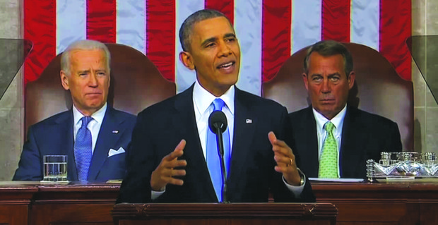 Obama speaks at the State of the Union Address on Capitol Hill