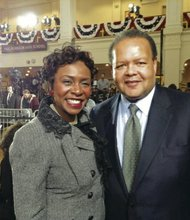 Congresswoman Yvette Clarke and Rudy Crew at an Obama event in Brooklyn.