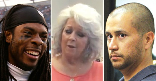 From left: Seattle Seahawks defensive cornerback Richard Sherman, Paula Deen and George Zimmerman