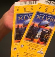 Photos of tickets to Super Bowl XLVIII on Sunday, February 2, 2014. The Seattle Seahawks face off against the Denver Broncos.