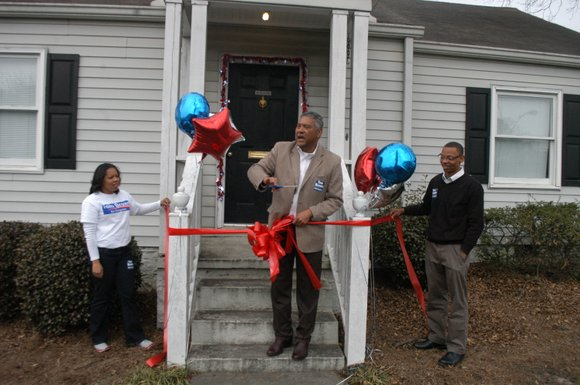 Sheriff Thomas Brown cut the ribbon on his new congressional campaign headquarters on Feb. 1 in Tucker.