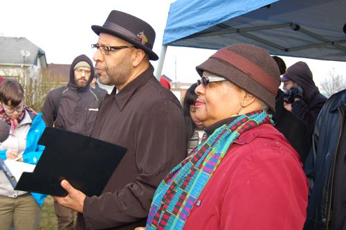 Portland African Leadership Forum leaders Tony Hopson and Former Sen. Avel Gordly address media and community members Monday at the site of a proposed Trader Joe's on the corner of Northeast Martin Luther King Jr. Boulevard and Alberta Street. The gathering took place just a couple of hours after the national retailer announced it pulled out of a deal with the Portland Development Commission and Majestic Realty Co. of Los Angeles to bring the specialty grocer to the heart of Portland's African American community.