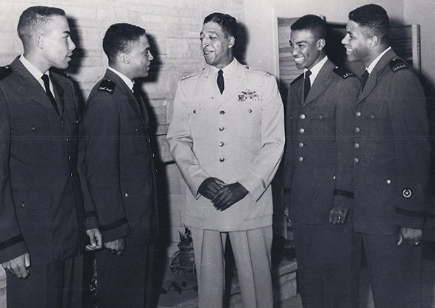 "Col. Hubert L. ""Hooks"" Jones (center) was part of the famous Tuskegee Airman unit that flew for the Air Force in World War II. Later, he served  as a professor of air science at the Tuskegee Institute."