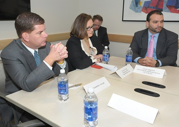 Mayor Marty Walsh and Health and Human Services Chief Felix G. Arroyo (r) at a Violence Intervention and Advocacy Round Table held at Boston Medical Center.