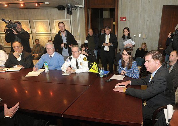 Mayor Marty Walsh meets with reporters to discuss the city's response to an impending January snow storm.