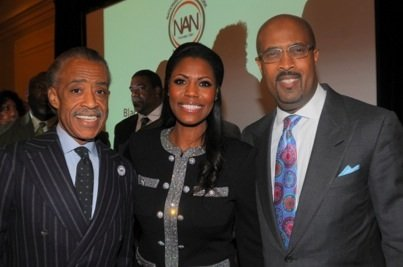 From left: Rev. Al Sharpton, Omarosa Manigault and National Action Network board member Frederick D. Haynes attend the NAN's inaugural Black History Month Awards Luncheon at the Beverly Hilton Hotel in Beverly Hills, Calif., on Feb. 5.