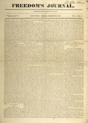 "Freedom's Journal's front page, third edition. The first African-American newspaper published in the U.S. will be featured in the Newseum exhibit, ""One Nation With News for All."" (Courtesy photo)"
