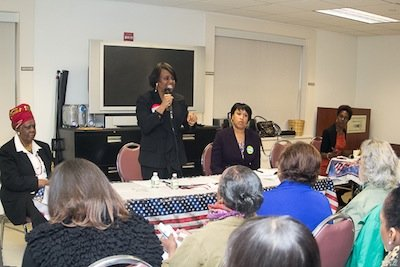 From left: Anita Bellamy Shelton, founder of D.C. Women in Politics, Reta Jo Lewis, D.C. Council member Muriel Bowser and moderator Vanessa Williams participate in a Feb. 9 women voters' forum held by Shelton's group at the Greater Washington Urban League in Northwest. Lewis and Bowser both seek the Democratic party mayoral nomination.